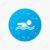 Water drops on button. Swimming sign icon. Pool swim symbol. Sea wave. Realistic pure raindrops. Blue circle. Vector